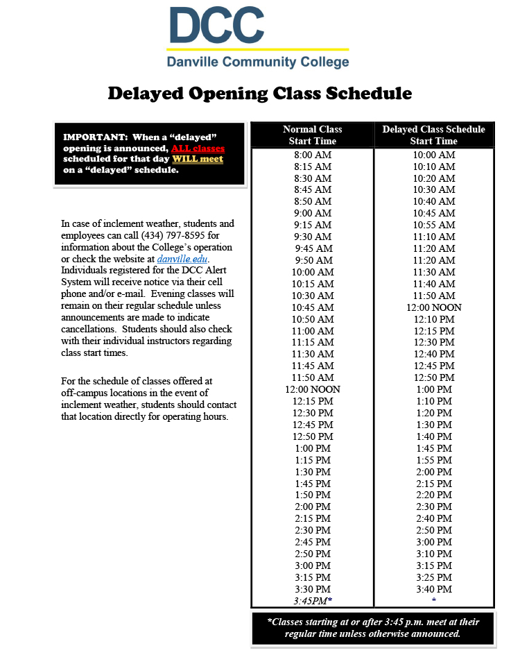 delayed class schedule image