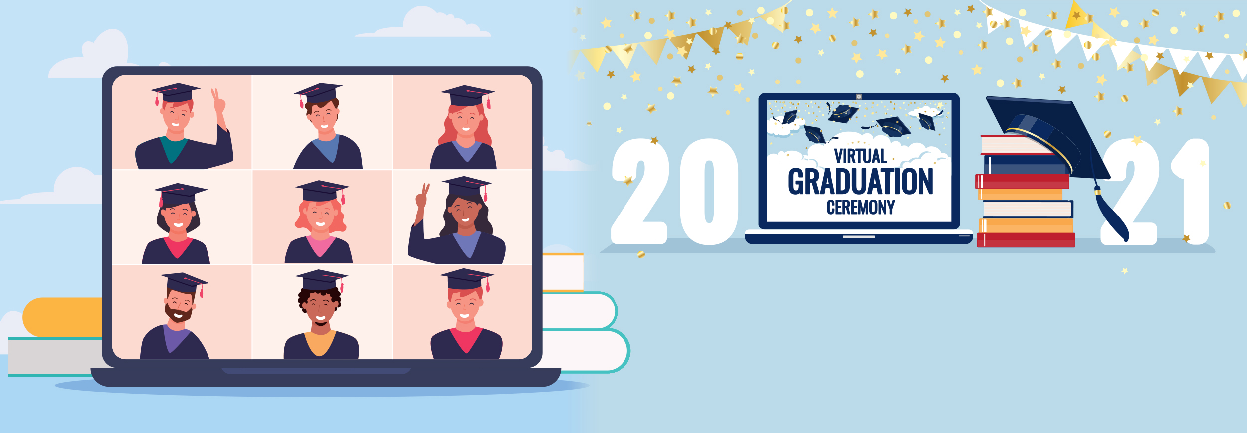 graphic promoting 2021 virtual graduation featuring students on a laptop screen and party decorations